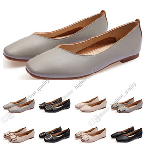 Mesdames Chaussures plates Lager Taille 33-43 Femme Cuir Nude Noir Noir Gris Neuf Arrivel Work Work Wedding Dress Shoes QuatTeen