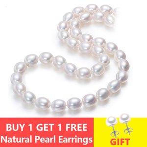 ASHIQI Perle d'eau douce naturelle pour les femmes Collier ras du cou Blanc Haut guality Cultured riz Bijoux en perles de V191202
