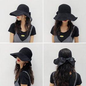 20 nouvelles femmes d'été Bonnet en maille rouge Subnet Pliable pare-soleil Femme Bow Top Straw Hat Vider