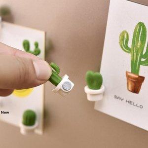 6pcs lot cactus Fridge Magnets Cute Succulent Plant Magnet Button Cactus Refrigerator Message Sticker Magnet home decor FFA3236