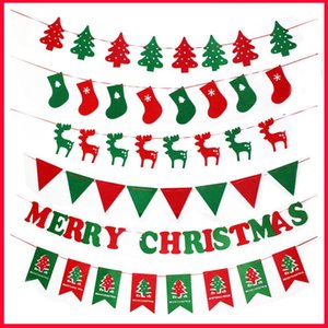Merry Christmas Banner Santa Clause Reindeer Flags Ornaments Christmas Tree Decoration 2019 New Year Decor Christmas Accessories