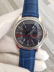 venda Comprar Mens Relógios 39 mm 50519 50515 Caixa de aço inoxidável mostrador preto faixas de couro Asia 2813 movimento automático Correia Relógios Cristo