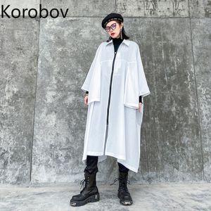 Korobov Harajuku Zipper Femmes Long Manteaux oversize Ulzzang blanc long Trench 2020 New Chic Streetwear Femme Manteau