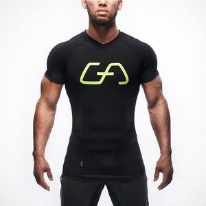 2019 gym T-shirt Nueva moda popular Hombre Deportes Elasticidad Manga corta V-Lead Running Fast Drying gym t-shirt