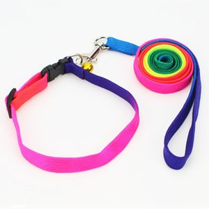 Arco-íris Collor Pet Leashes com Collar / Arnês Juntos Leashes Cat Pet Leva 10 jogos / lote Atacado