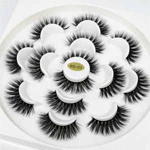 3D Nerz Wimpern Natürliche Falsche Wimpern Lange Wimpernverlängerung Faux Gefälschte Wimpern Makeup Tool 7 Paare / satz