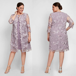 Lavender Plus Size Mother Of The Bride Dresses With Long Jacket Flower Lace Formal Wedding Guest Dress Customized Women's Outfit for Party