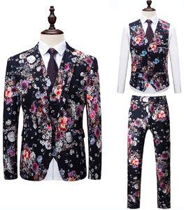2019 남자 정장 플로랄 패턴 정장 재킷 슬림 맞는 남성 웨딩 드레스 턱시도 고품질 정장 정장 블레이저 (자켓 + 조끼 + 바지)