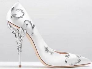 Date De Luxe Satin Chaussures À Talons Hauts Femme Pointu Toe Branche En Métal Décor Strange Talon En Métal Pompes Chaussures De Mariage