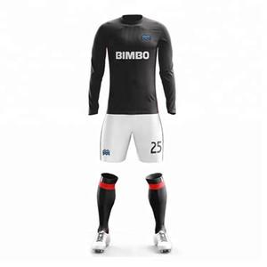 Quality Cheap long sleeve Soccer Jerseys Uniforms Custom Design football Polyester Fit Soccer Uniforms