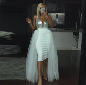 Fashion White Short Prom Dresses With Evening Detachable Overskirts Sexy V-Neckline Tulle Skirt Sequins Top Cocktail Party Dress