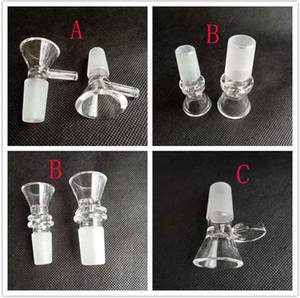 Starke runde Trichter-Glasschüssel-Kraut-trockene Öl-Brenner mit Griff 3 Arten 14mm 18mm Mann für das Rauchen bearbeitet Zusatz-Glasbongs-Luftblase