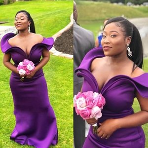 Long Off-the-Shoulder Mermaid Bridesmaid Dress Purple Women evening party dress Evening Party Gowns African Sexy Maid Of Honor Dress