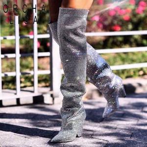 ORCHA LISA Кристалл колено высокие сапоги женщины сапоги на высоком каблуке взлетно-посадочной полосы обувь блеск Спайк пятки острым носом пинетки дамы