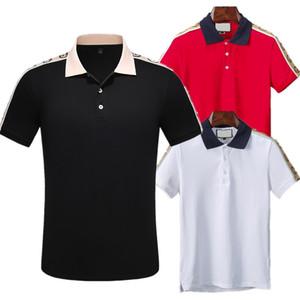 2020 Çizgili Polo Mens lüks Polo Gömlek Kısa Kollu Baskılı Yaz Tişörtlü M-XXXL Aşağı Yaka Designer çevirin 3 Renk Çizgili T-Shirt