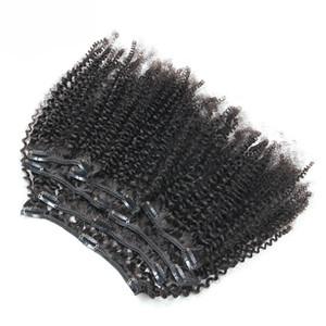 Кудрявый вьющиеся волосы клип модули расширения человеческих волос бразильский Реми 100 г вьющиеся клип в человеческих волос расширения
