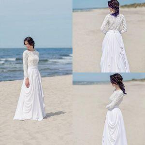 Yaz üst dantel sahil gelinlik olmayan geleneksel o-boyun uzun kollu şifon plise flowy mütevazı ucuz gelin elbise 2019 bohemian ...