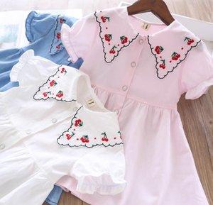 cereja meninas lapela vestido bordado 2020 verão novas crianças irritar curta de algodão vestido de manga crianças vestido plissado A2161 branco azul rosa