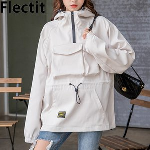Flectit Carino Giacca con cappuccio Giacca a vento per le donne Anorak giacca con cappuccio cappotti femminile abbigliamento outdoor *