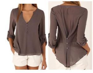 Tops Elegant V-neck Casual Fashion Blouses Long Sleeved Chiffon Autumn Spring Summer Tees Plus Size Women