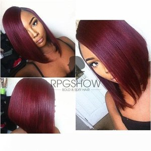 "12"" Ombre Burgundy Bob Wig Human Hair Glueless Full Lace Wig Bob Ombre Human Hair Full Lace Wig Straight Wigs For Black Women"
