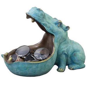 Hippo Статуя Смолы Бегемот Скульптура Фигурка Key Candy Контейнер Украшение дом столовое украшение аксессуары Главная Украшение
