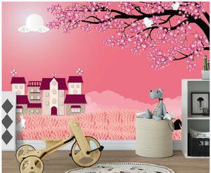 Fototapeten Wandtapete Cartoon Lieber Charakter großes Baumhaus Kinder Schlafzimmer Wand im Hintergrund