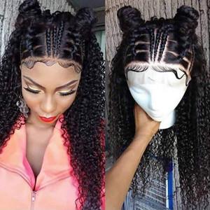 Peluca de encaje rizado 360 de moda con gorra peluca delantera de encaje de onda de agua pre arrancada peluca de trenza de cola de caballo de 12-24 pulgadas para mujeres negras