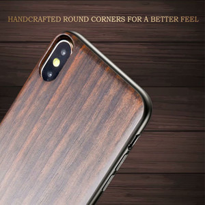 Real Ebony Wood + PC + TPU Case for iPhone X XS Max XR 7 8 Hard Cover Carving Wooden Smartphone Shell Protector