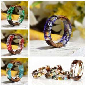 Hot Sale Pattern Handmade Madeira Resina Anel Dentro resina de jóias Ring Ring aniversário transparente para Mulheres