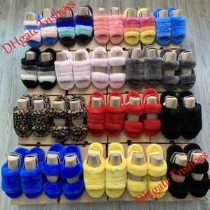 Mujeres Oh Fluff Yeah Slide Fur Sandale Moda Diseñador de lujo Plataforma Cuñas Tacones Sandalias Furry Zapatillas Zapatillas Diapositivas Chanclas Sandalia