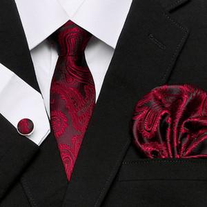 Kaju Çiçek Serisi Erkekler Uzatma Anacardi Fiori Cravatta% 100 İpek Dokuma Kravat + Hanky + Kol Düğmeleri Biçimsel Üç parça Suit Moda için ayarlar