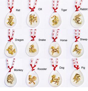 Chinese 12 Zodiac transparentes forma da gota da água Pingente Sponge Bob auspicioso Colar Cristal Red Rope Colar Cadeia