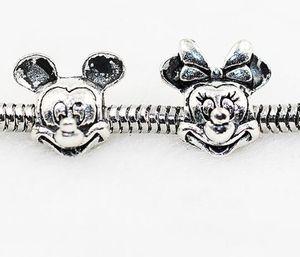 Start 100PCS Mick Mini Alloy Charm Bead Loose Big Hole Women Design Jewelry European Style for DIY Bracelet Fit Necklace Accessories