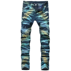Herrenmode Painted Jeans-Hosen-Stretch gerade gedruckten Denim-Hose für Männer Plsu Größe 28-42 Gewaschene