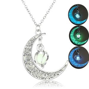 ERLUER Heißer Verkauf ausgehöhlte Spirale Mondschein Anhänger Halskette Glow In The Dark Vintage Moon leuchtende Charm Halsketten Frauen Männer