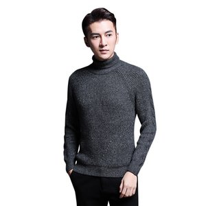 Inverno Turtelneck Sweater Men Slim Fit Malha Quente Pullovers Moda Mens Camisolas Casual Sólidos Pullovers Causal Mens Clothing