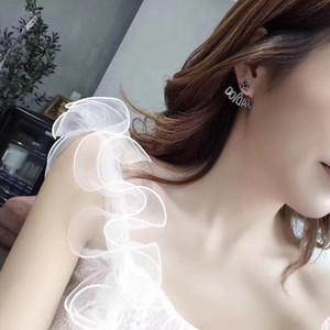 Asimmetrico ape orecchini stella orecchini pendenti di perle di ottone moda S925 ago d'argento per le ragazze e le donne accessori stile caldo