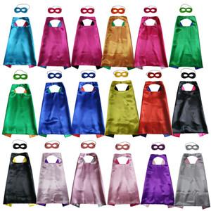27 pouces plaine double couche cape de super-héros avec masque set 18 couleurs choix cape de cosplay super-héros Déguisement pour anniversaire