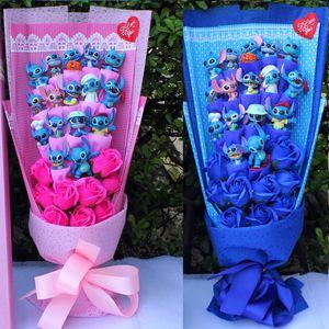 봉제 장난감 부케의 봉합 꽃다발 봉제 인형 봉합 부케 kawaii 발렌타인 장난감 인공 꽃 모란 stich