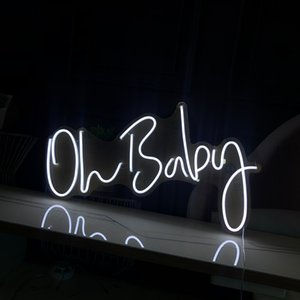 Oh cartão do bebê Meninas presentes nome letras palavras decoração do quarto multi cor sinal de néon personalizado 12v
