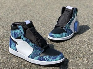 2020 Nuove uscite 1 High Olimpiadi Tie Dye CD0461-100 1s Bianco Nero-Aurora Verde Mens Basketball Sport Shoes Designer formatori Kicks