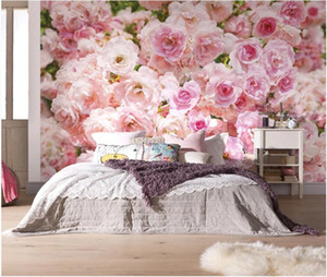 Romântico Fundo rosa Flor Rose Murais Casa Wedding Sala Home Decor Photo Wallpaper Papel De Parede 3D Floral
