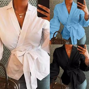 2020 New Hot Sale Spring New Long Sleeve V-neck Lantern Sleeve Button Solid Color Shirt Women