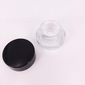 Recipiente de vidro stash jar 5 ml logotipo personalizado recipiente de cera clara dab mini pequeno frasco cosmético com tampa preta