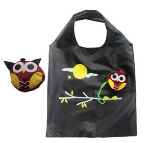다채로운 올빼미 재사용 식료품 가방 접이식 쇼핑 가방 대용량 토트 여행 재활용 저장 조직 핸들 가방 에코 - 친화적 인