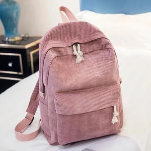 Soft Fabric Backpack Female Corduroy Design School Backpack For Teenage Girls Striped Backpack Women Preppy Styl