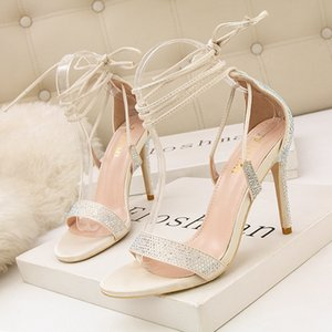 New Crossing Bandage sexy Women sandals Rhinestone Summer Fashion pointed toe high heel Pumps for Party