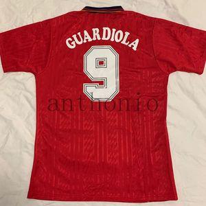 WM 1994 Spanien Fußball-Jersey-Retro 94 nach Hause Espana Fußball Shirt Vintage Classic Collection Maillot Salinas Guardiola Enrique Camiseta