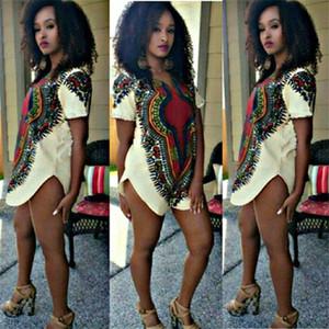 África Mulher Vestuário Impresso Bazin Riche étnicas Dashiki Summer manga curta africano camisetas casual solta Dividir Tops Blusa